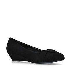 Miss KG - Black 'Carole' Suedette Wedge Heel Court Shoes