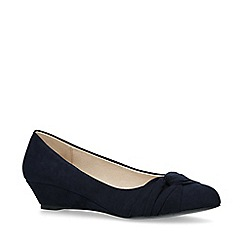 Miss KG - Navy 'Carole' Suedette Wedge Heel Court Shoes