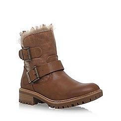 Miss KG - Brown 'Snug' low heel biker boot