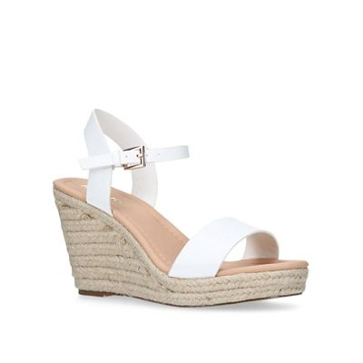 Miss KG - White 'Paulina' mid heel wedge sandals