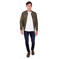 Steel & Jelly - Olive leather suede bomber