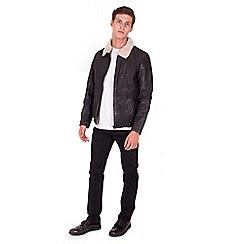 Steel & Jelly - Black leather shearling jacket