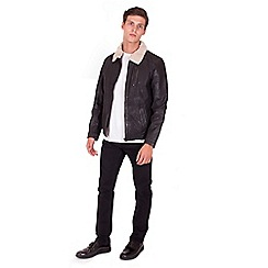 Steel & Jelly - Big and tall black leather shearling jacket