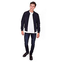 Steel & Jelly - Big and tall navy leather suede bomber