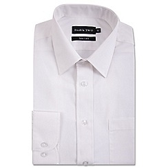 Double Two - Big and tall white classic cotton blend Easycare shirt