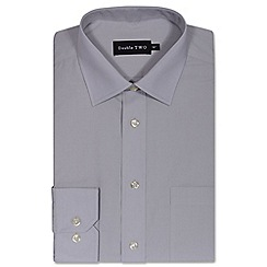 Double Two - Silver cotton rich non-iron shirt