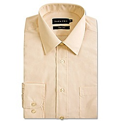 Double Two - Big and tall cream classic cotton blend Easycare shirt