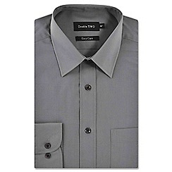 Double Two - Big and tall light grey classic cotton blend easycare shirt