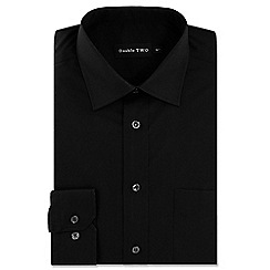 Double Two - Big and tall black cotton rich non-iron shirt