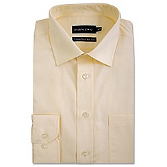 Double Two - Light yellow cotton rich non-iron shirt