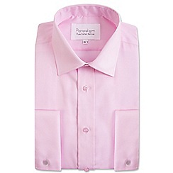 Double Two - Big and tall light pink double cuff cotton shirt