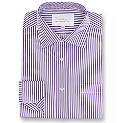 Double Two - Big and tall purple striped single cuff pure cotton shirt