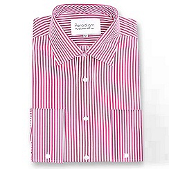 Double Two - Red striped double cuff pure cotton shirt