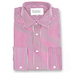 Double Two - Big and tall red striped double cuff pure cotton shirt