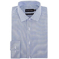 Double Two - Big and tall blue geometric print formal shirt