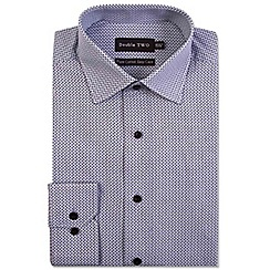 Double Two - Big and tall grey ditzy dot print formal shirt