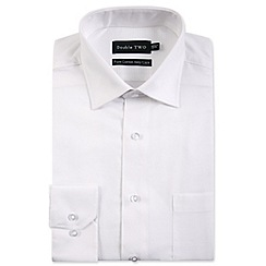 Double Two - Big and tall white diamond weave formal shirt
