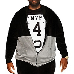 MVP Collections - Big and tall black and grey velour colour block track jacket
