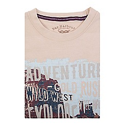 Bar Harbour - Big and tall beige adventure print t-shirt