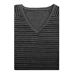 Bar Harbour - Grey printed stripe v-neck t-shirt