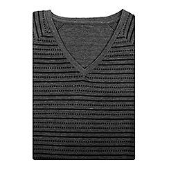 Bar Harbour - Big and tall grey printed stripe v-neck t-shirt