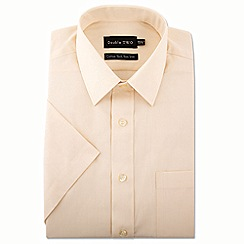Double Two - Big and tall cream short sleeve non-iron cotton rich shirt