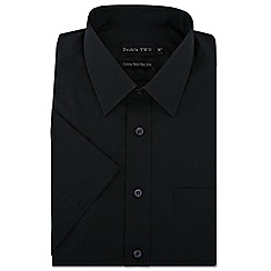 Double Two - Big and tall black short sleeve non-iron cotton rich shirt