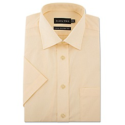 Double Two - Big and tall yellow short sleeve non-iron cotton rich shirt