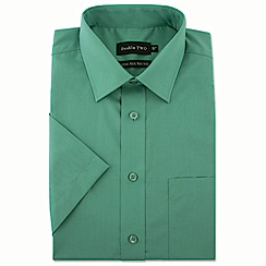 Double Two - Big and tall green short sleeve non-iron cotton rich shirt