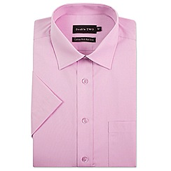 Double Two - Big and tall pink short sleeve non-iron cotton rich shirt