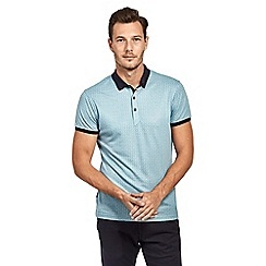Mish Mash - Pale blue soft touch jacquard short sleeve polo shirt
