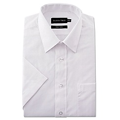 Double Two - Big and tall white short sleeve classic cotton blend shirt