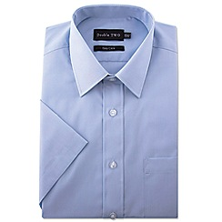 Double Two - Big and tall blue short sleeve classic cotton blend shirt