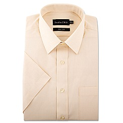 Double Two - Big and tall cream short sleeve classic cotton blend shirt