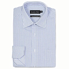 Double Two - Blue grid check formal shirt