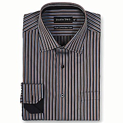 Double Two - Big and tall brown satin stripe formal shirt