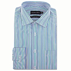 Double Two - Big and tall green stripe formal shirt