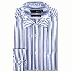 Double Two - Aqua multi striped formal shirt