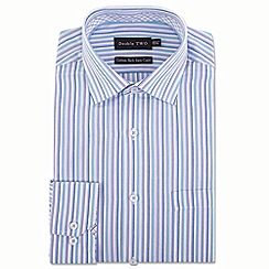 Double Two - Big and tall aqua multi stripe formal shirt