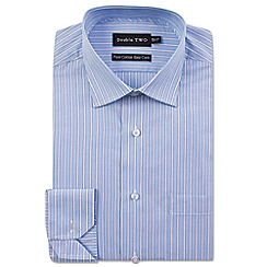 Double Two - Big and tall blue varied stripe formal shirt