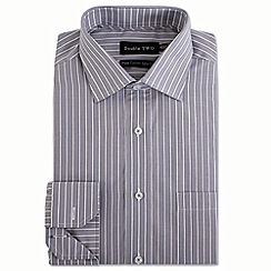 Double Two - Big and tall grey varied stripe formal shirt