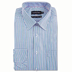 Double Two - Big and tall blue vertical stripe formal shirt