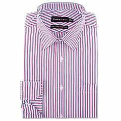 Double Two - Big and tall pink vertical stripe formal shirt