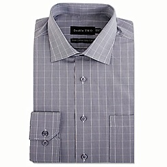 Double Two - Big and tall grey square check formal shirt
