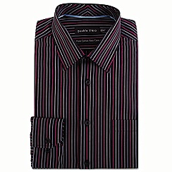 Double Two - Big and tall black contrast satin stripe formal shirt