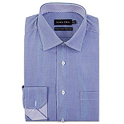 Double Two - Big and tall blue stripe formal shirt