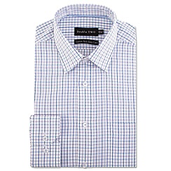 Double Two - Big and tall purple multi check formal shirt