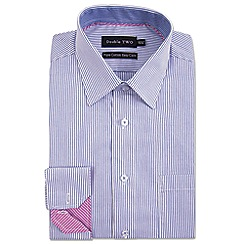 Double Two - Big and tall blue contrast trim striped formal shirt