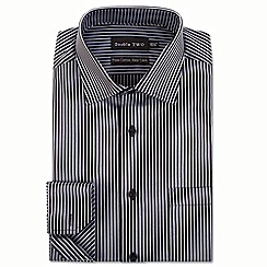 Double Two - Big and tall grey satin stripe formal shirt