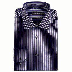 Double Two - Big and tall purple multi satin stripe formal shirt